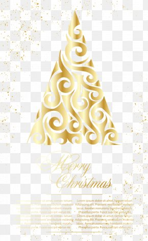 Golden Christmas Tree Greeting Card Vector Illustration - Christmas Tree PNG