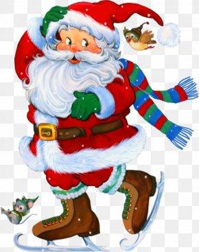 Transparent Santa With Skates Clipart - Rudolph Santa Claus Christmas New Year PNG