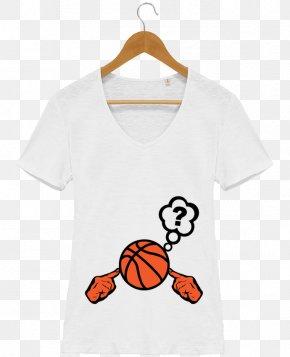 White T-shirt Design - T-shirt Sleeve Collar Basketball Button PNG