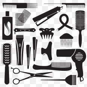 Silhouette Hair Tools - Barbershop Hairdresser Canvas Hairstyle Pattern PNG