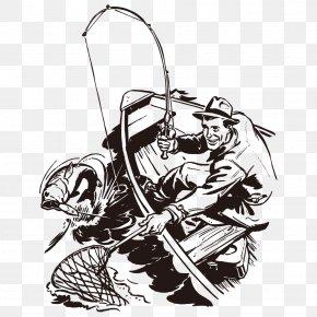 Wooden Fishing Man - Fishing Rod Fisherman Fishing Net Clip Art PNG