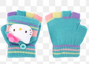 Hello Kitty Blue Woolen Gloves - Glove Hello Kitty Wool PNG