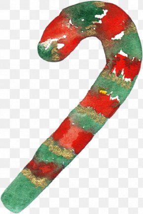 Hand-painted Christmas Cane - Candy Cane Santa Claus Christmas PNG