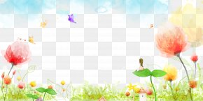 Watercolor Flower Plant Butterfly Blue Sky Background PNG