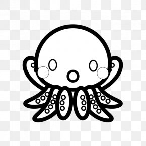 Black And White Octopus - Black And White Octopus Coloring Book Clip Art Illustration PNG