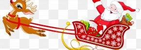 Santa Claus And Reindeer - Santa Claus Reindeer Sled Clip Art PNG