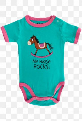 Pink Horses - Baby & Toddler One-Pieces T-shirt Green Sleeve Font PNG