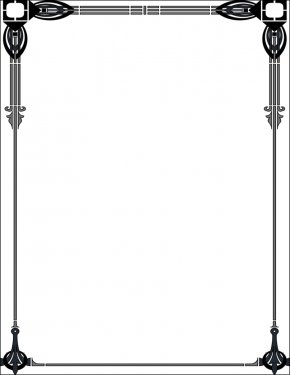 Pen Border Cliparts - Art Nouveau Motifs Borders And Frames Art Deco Clip Art PNG