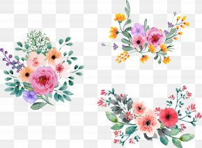 Vector Hand-painted Flowers - Flower Bouquet Floral Design Cut Flowers Floristry PNG