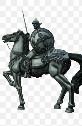 Horse Sculpture Soldier Statue - Middle Ages Knight Sculpture Illustration PNG