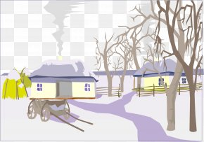Vector Hand-painted Winter Village - Winter Picture Book PNG
