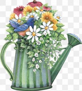 Spring Forward - Watering Cans Flower Garden Flowerpot Clip Art PNG