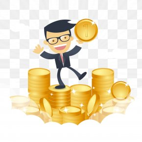 Happy Businessman With Money Vector PNG