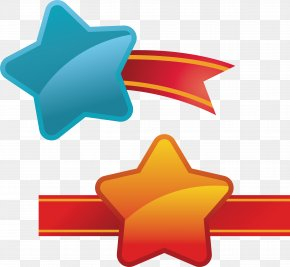 Five Pointed Star Ribbon Cartoon Label - Download Clip Art PNG