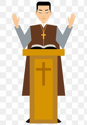 Christian Priests Painted Cartoon Man - Cartoon Pastor Priest Illustration PNG