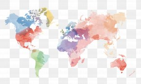 Vector Creative Watercolor World Map Material - Globe United States World Map PNG