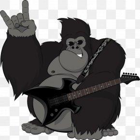 Play Bass Orangutan Picture - Gorilla Chimpanzee Ape Illustration PNG