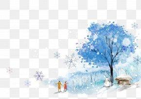 Cartoon Painted Blue Snow - Snow Winter Clip Art PNG