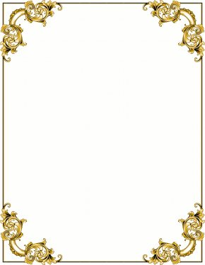 Cross Borders Cliparts - Baroque Ornament Gold Picture Frame Clip Art PNG