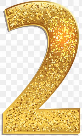 Number Two Gold Shining Clip Art Image - Number Clip Art PNG