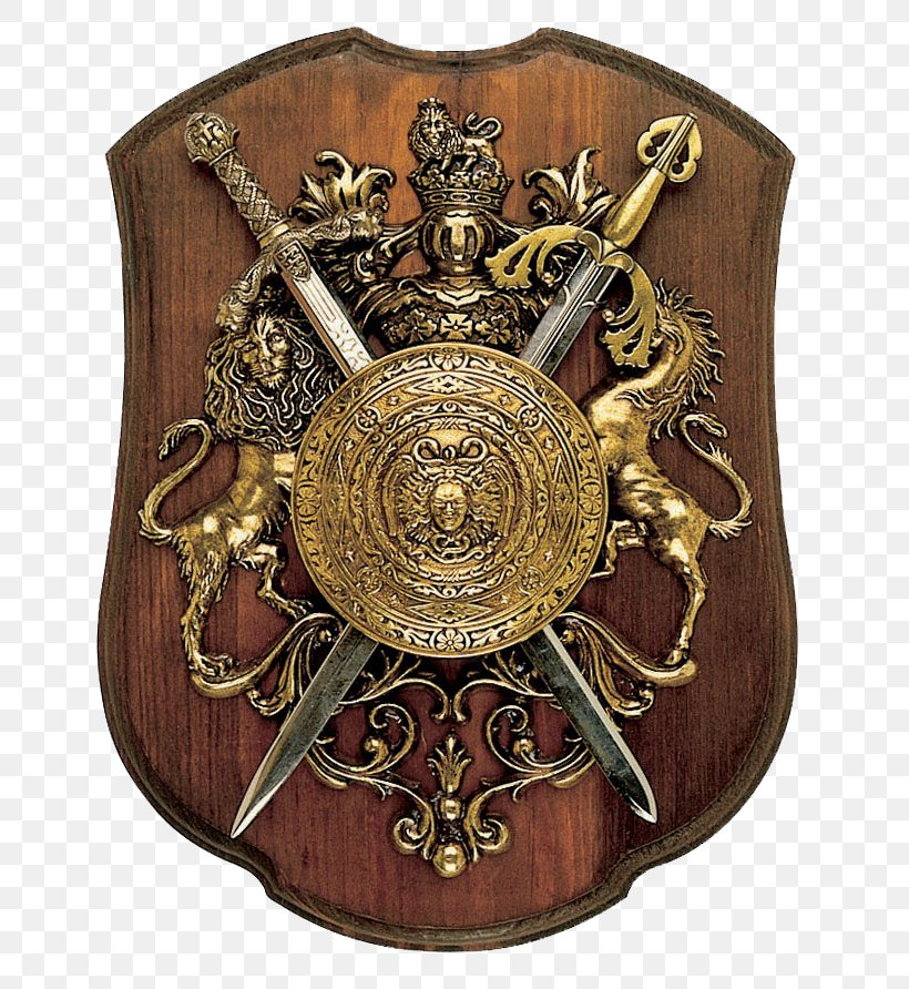 Shield Sword Weapon, PNG, 694x892px, Shield, Antique, Body Armor, Brass, Coat Of Arms Download Free