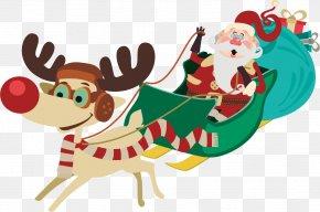 Vector Elk And Santa Claus - Santa Claus's Reindeer Santa Claus's Reindeer Christmas PNG