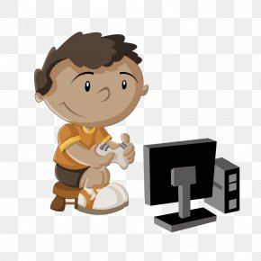 Simple Vector Drawing Boy Playing Video Games - Video Game Console Child PNG