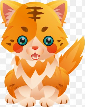 Vector Yellow Tiger Cat - Kitten Whiskers Cat Felidae Tiger PNG