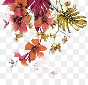 Textile Painted Floral Patterns - Floral Design Flower Watercolor Painting Mural Illustration PNG