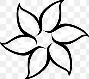 Black And White Flower Outline - Flower Outline Drawing Clip Art PNG