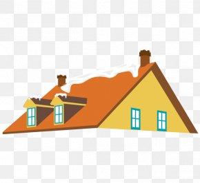 Vector House Roof Chimney Snow - Roof House Snow PNG