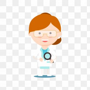 A Female Scientist Holding A Magnifying Glass - Scientist Magnifying Glass Clip Art PNG