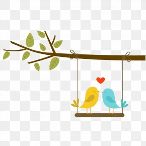 Love Birds On The Branch - Lovebird Euclidean Vector PNG