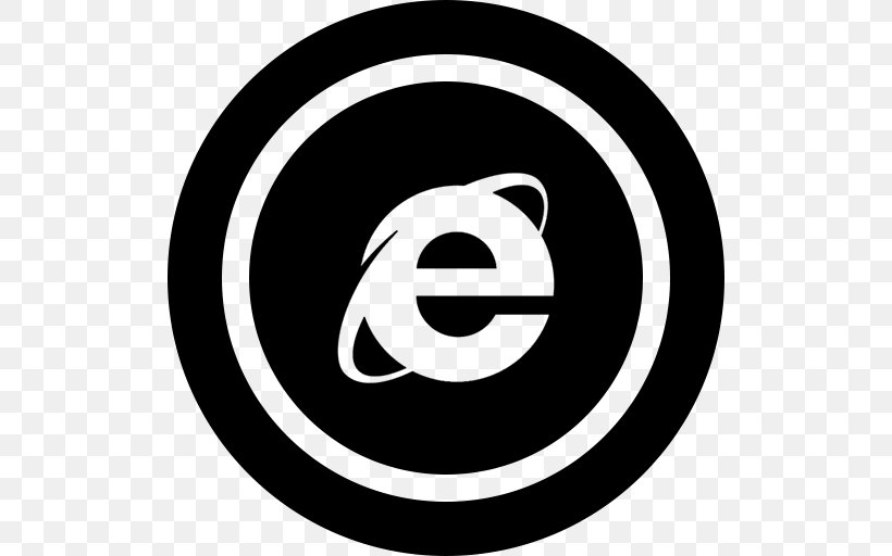 Internet Explorer Web Browser Microsoft, PNG, 512x512px, Internet Explorer, Area, Black And White, Brand, File Explorer Download Free