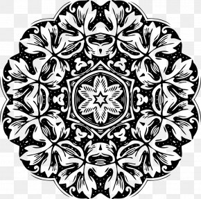 Islam Floral - Black And White Floral Design Clip Art PNG
