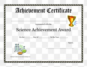 Certificate Of Achievement - Document Template Student Award Academic Certificate PNG