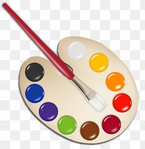 Palette With Paint Brush Image - Palette Paintbrush Clip Art PNG