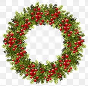 Green Christmas Pine Wreath Clipart Image - Wreath Christmas Decoration Clip Art PNG