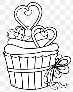 Cupcake Outline - Cupcake Drawing Black And White Coloring Book Clip Art PNG