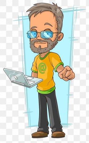 Take The Computer Man - Cartoon Character Illustration PNG