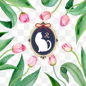 Tulip Flowers Border - Watercolor Painting Flower Clip Art PNG