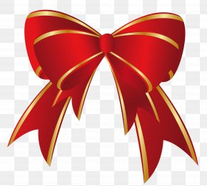 Christmas Red Gold Bow Clipart - Christmas Gift Clip Art PNG