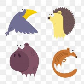 Vector Cartoon Rhino Fox Crow Hedgehog - Clip Art PNG