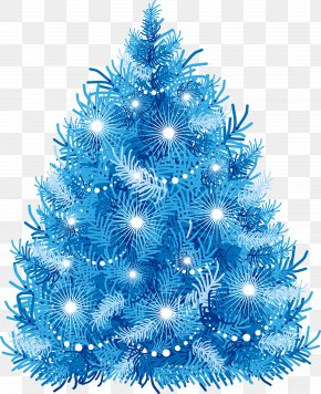Hand Painted Blue Christmas Tree - Christmas Tree Christmas Gift Euclidean Vector PNG