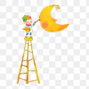 Ladder Moon Painting Class - Window Blind Child Auction Co. Curtain Illustration PNG