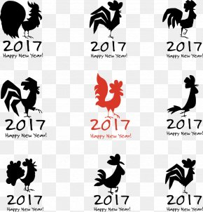 Vector Black Cock - Chinese New Year Rooster Chinese Zodiac Illustration PNG