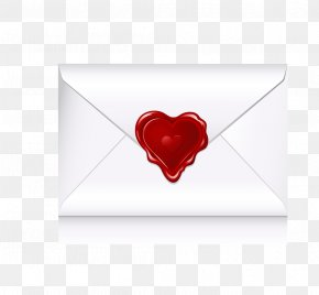 Heart-shaped Envelope Vector - Red Love Heart PNG