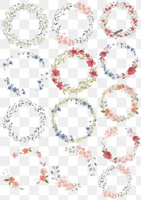 Vector Watercolor Wreaths - Watercolor Painting Wreath Drawing Illustration PNG