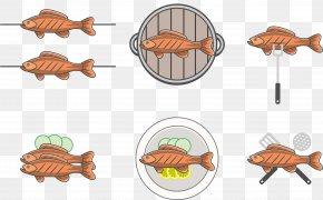 Cartoon Fish - Fried Fish Roasting Clip Art PNG