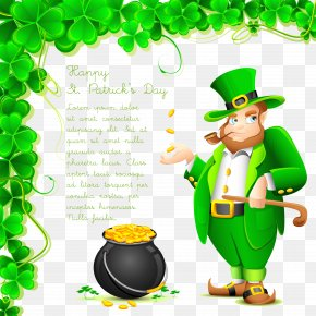 Gentleman And Money Jar Vector - Saint Patricks Day Wish Greeting Card Saying PNG